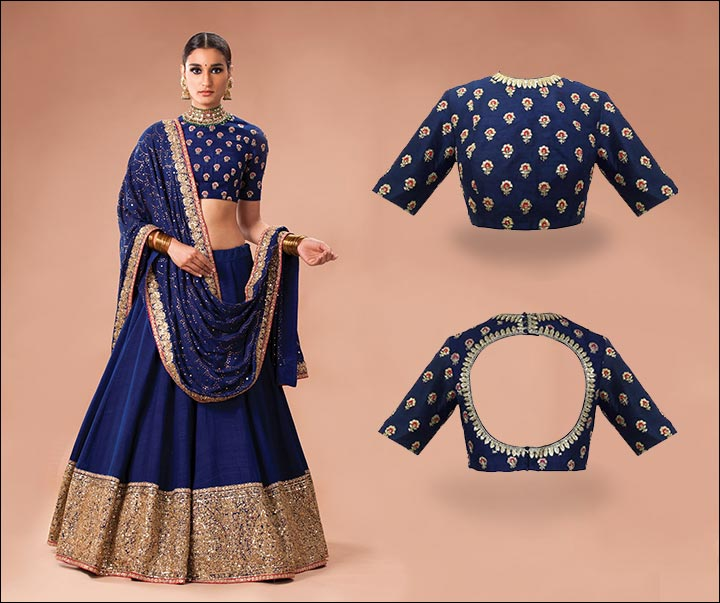 Blouse Back Neck Designs - Sabyasachi Blue Blouse Back Neck Design