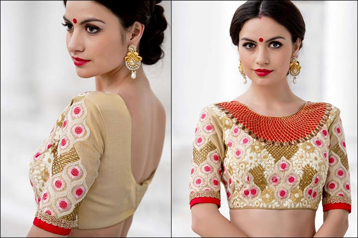 Blouse Back Neck Designs - Silk Resham Blouse Back Neck Design