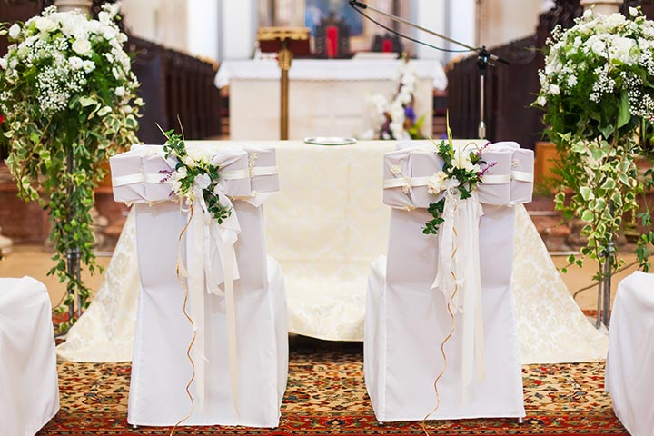 9 strikingly simple ideas on church decoration for wedding the regal thrones decration at church wedding junglespirit Images