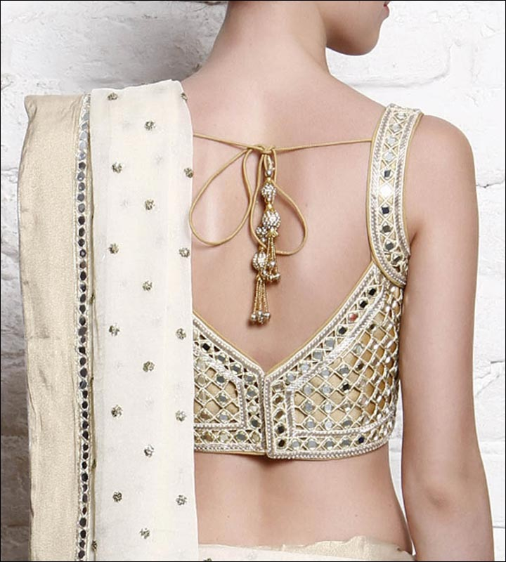 Blouse Back Neck Designs - V-Cut Mirror Studded Back Neck Design