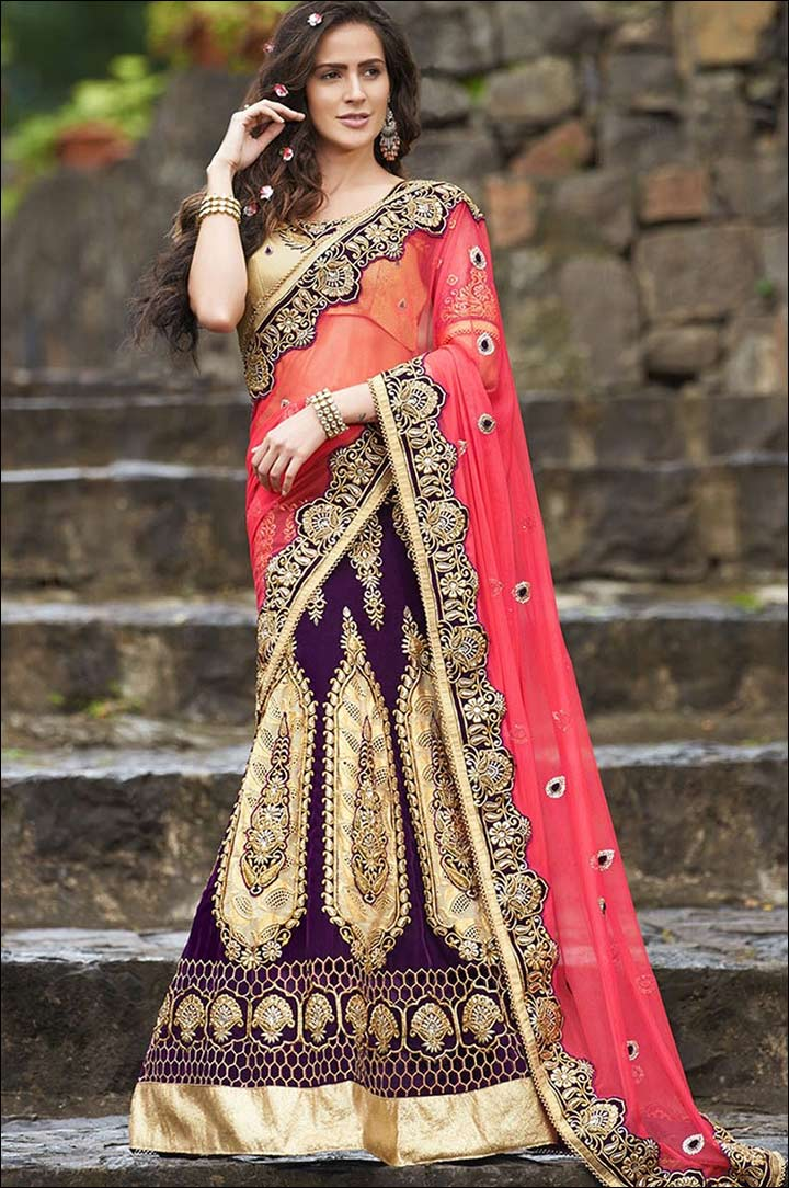 Wear-lehenga-bridal-style-saree
