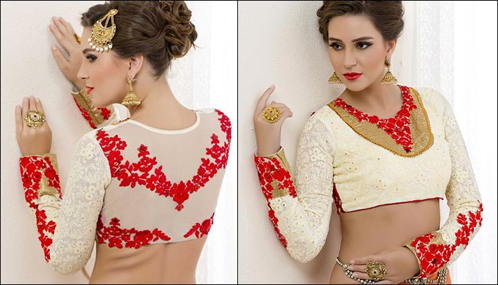 Blouse Back Neck Designs - White Georgette Blouse Back Neck Design
