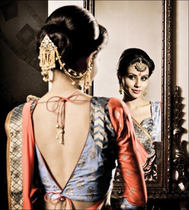 Blouse Back Neck Designs - Exquisite V Shaped Indian Back Neck Blouse Design