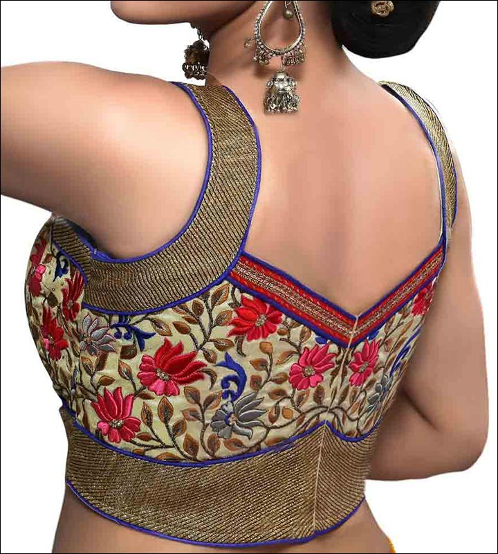 Blouse Back Neck Designs - Traditional Embroidered Black And Gold Blouse Back Neck Design