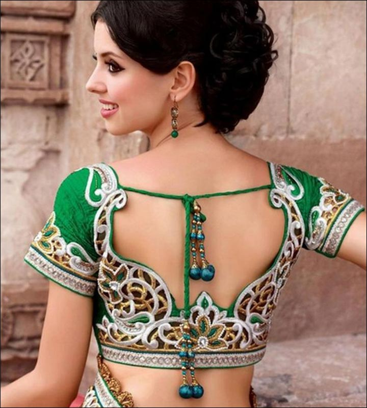 Blouse Back Neck Designs - Floral Embroidered Green & Silver Blouse Design