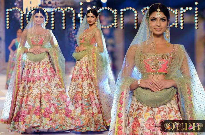 pakistani bridal dress-lehenga paired with a pink embellished choli