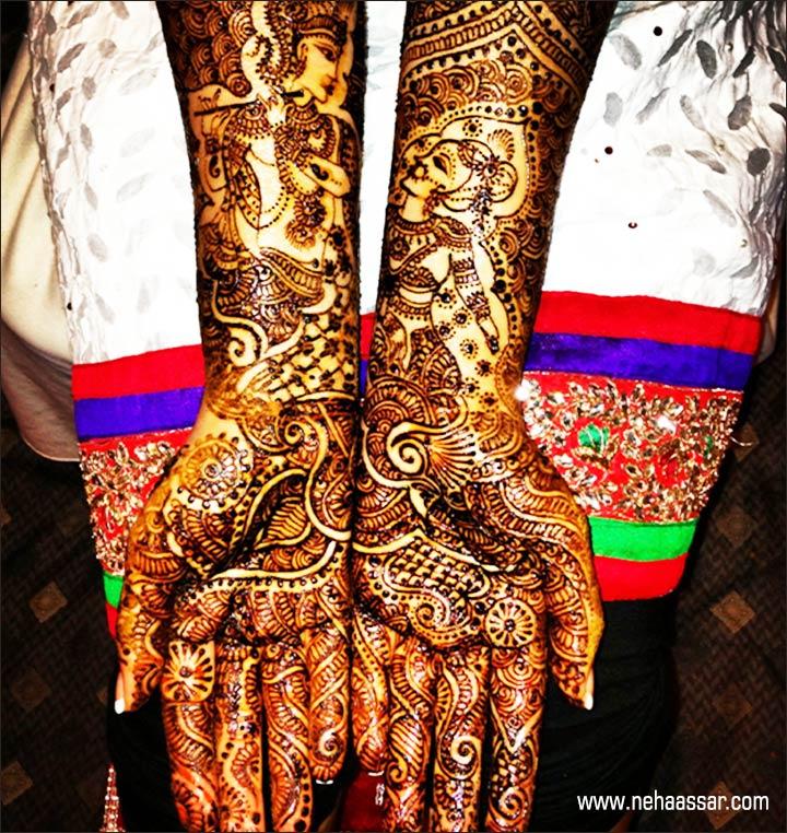 radha krishna mehndi design with abstract feather patterns