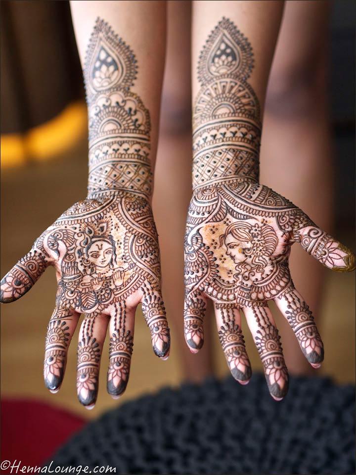 radhakrishna mehndi design with geometric design