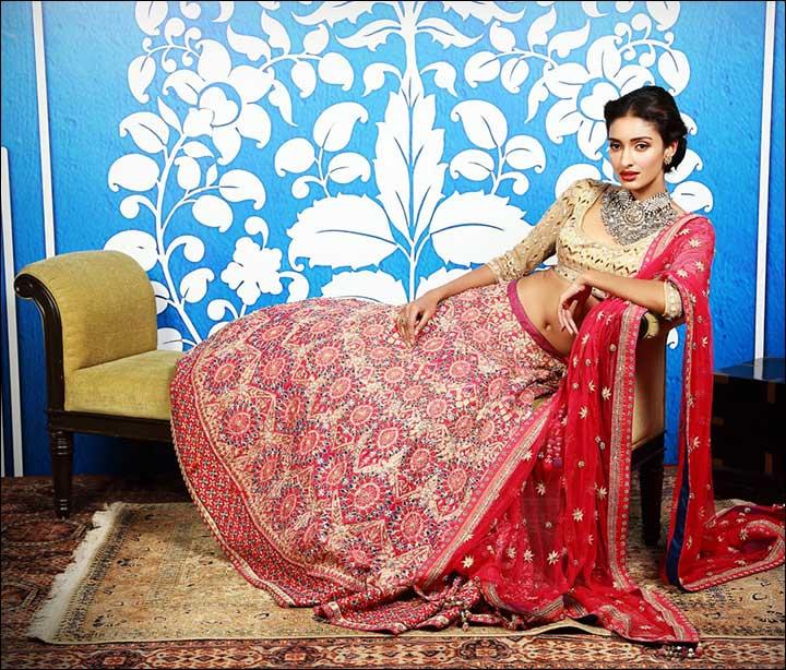 pink lehenga set by anita dongre