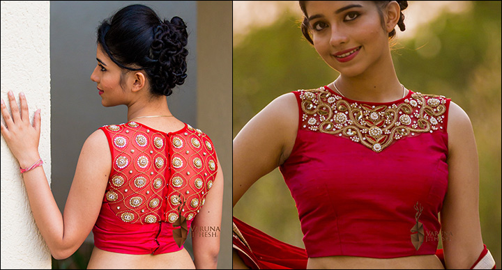 Blouse Back Neck Designs - Cropped Pink Blouse With Back Neck Design