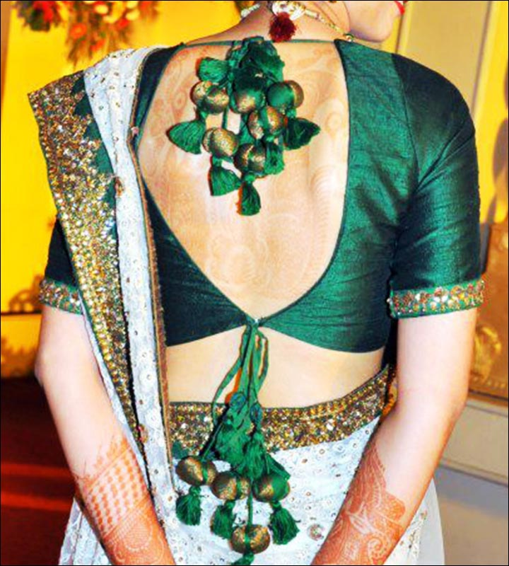 Blouse Back Neck Designs - Embroidered Bottle Green Silk Blouse Back Neck Design