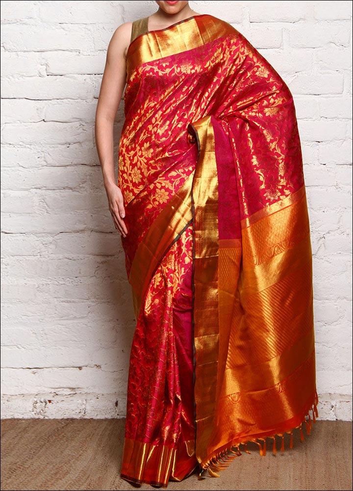 A-Red-Pure-Silk-Woven-Zari