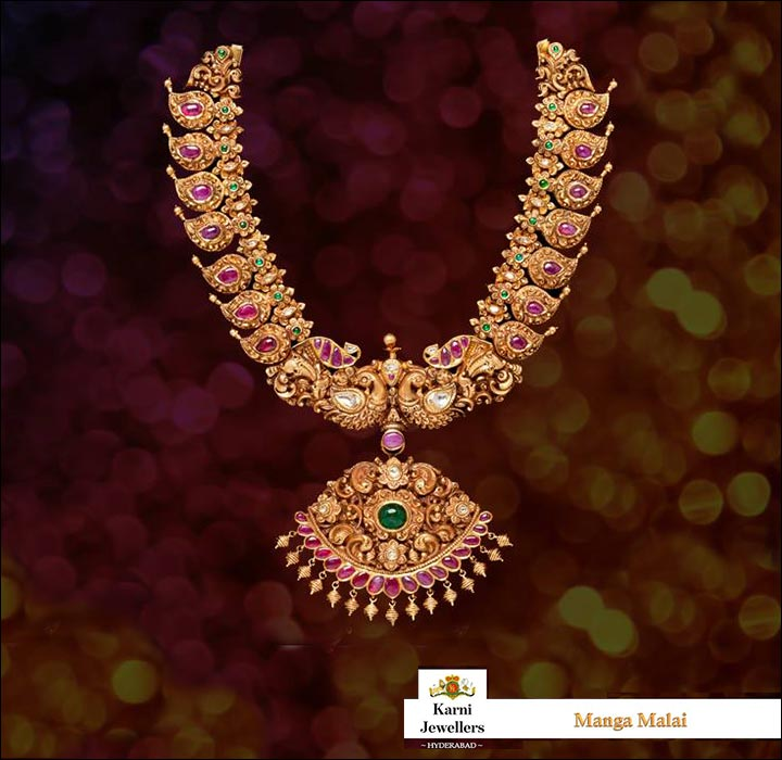 South Indian Bridal Jewellery Sets - Antique South Indian Mango Necklace Set
