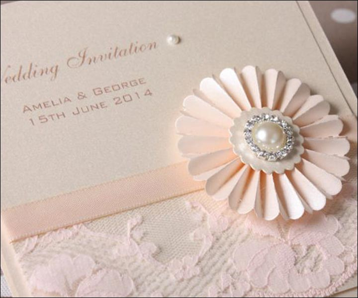 Handmade Wedding Invitations - An Embellished Baby Pink Wedding Invite