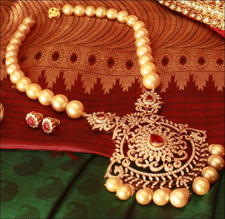 South Indian Bridal Jewellery Sets - Bridal Pearl Necklace Set With Diamonds
