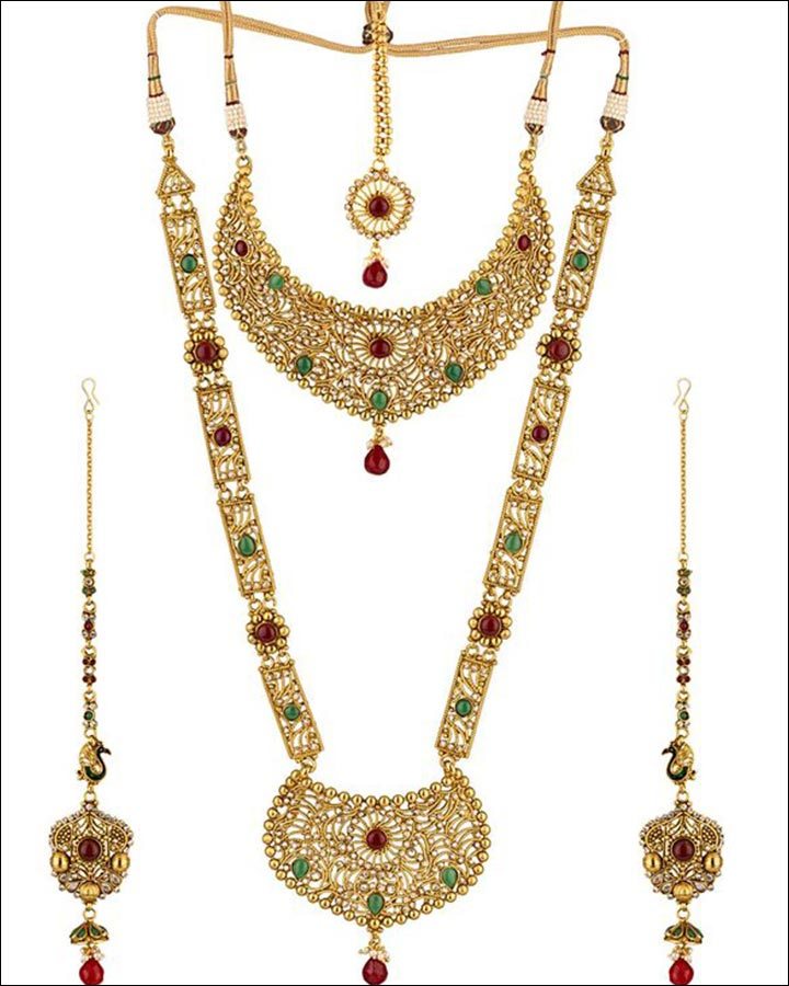 Bridal Imitation Jewellery - Bridal Set With Jali Work