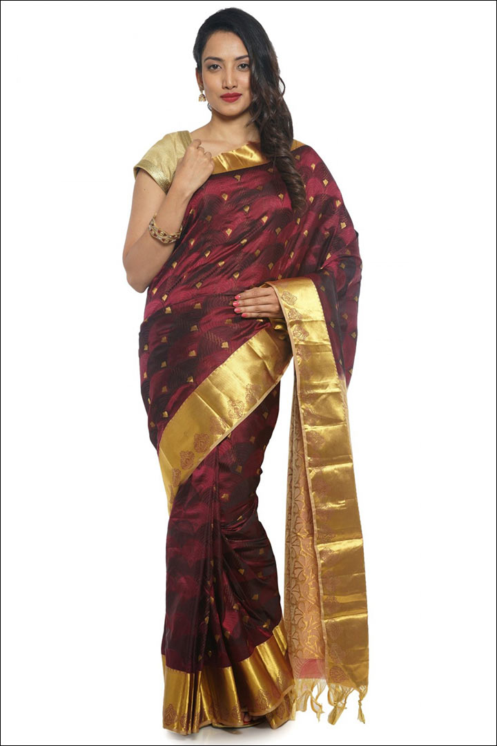 Brown Kanchipuram Bridal Saree