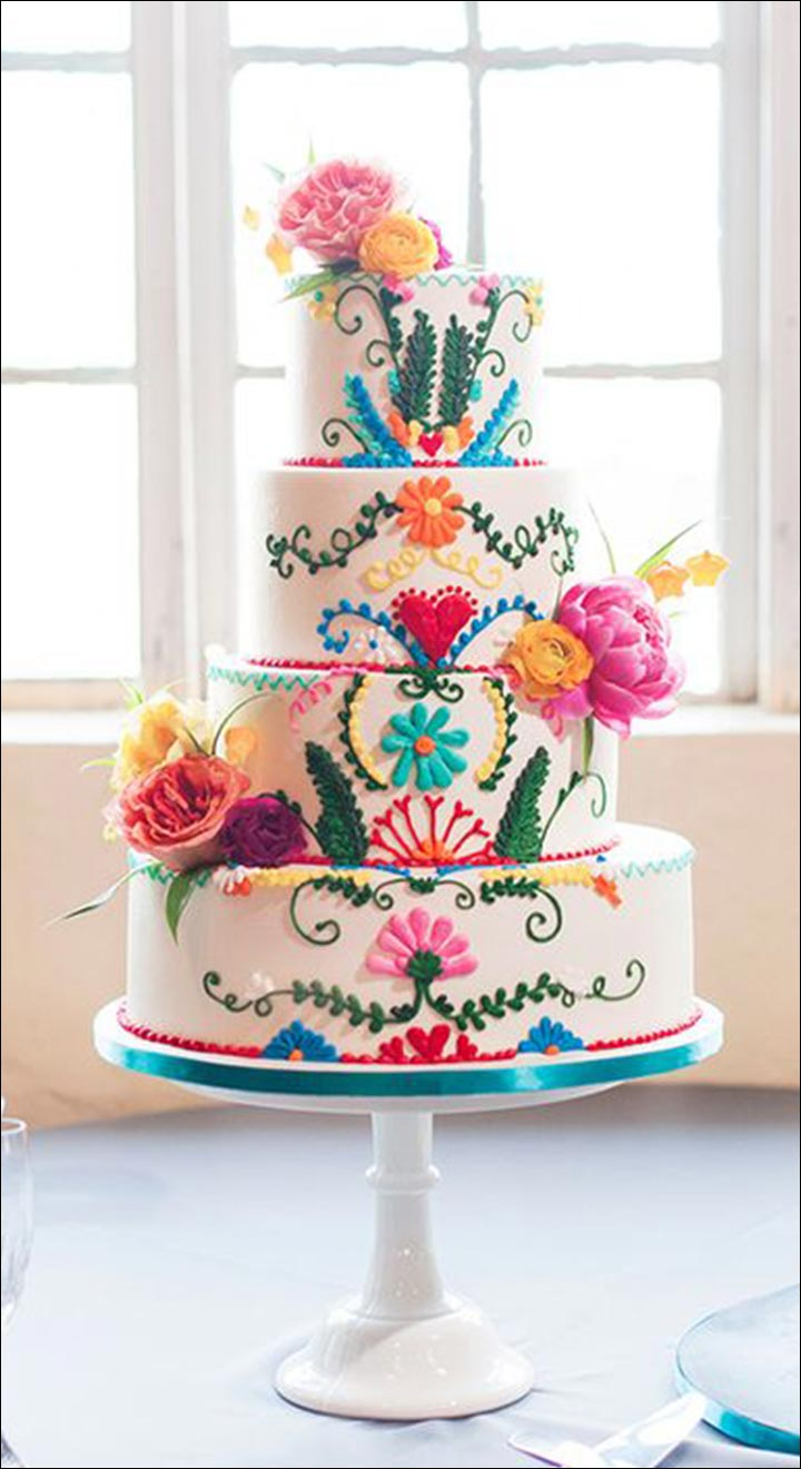 A Colourful Fiesta Wedding Cake