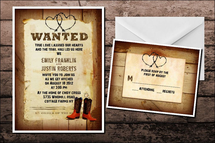Informal Wedding Invitation Wordings - Cowboy Love