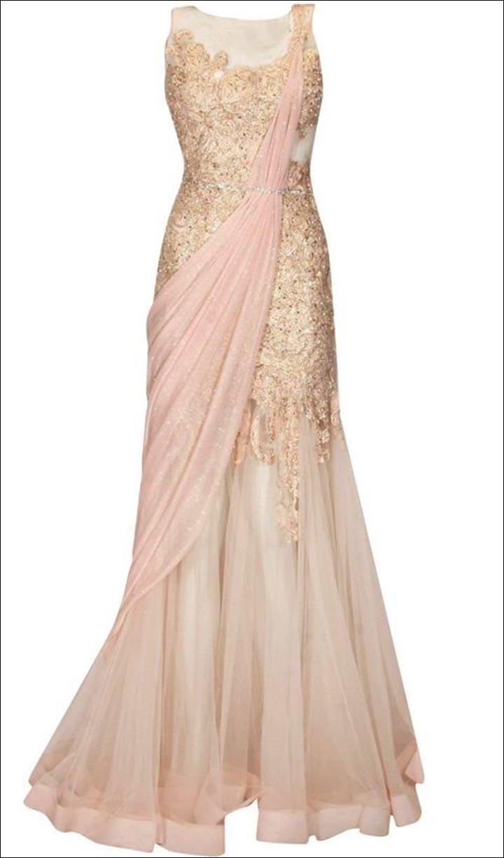 Bridal Reception Sarees - Cream Saree Gown