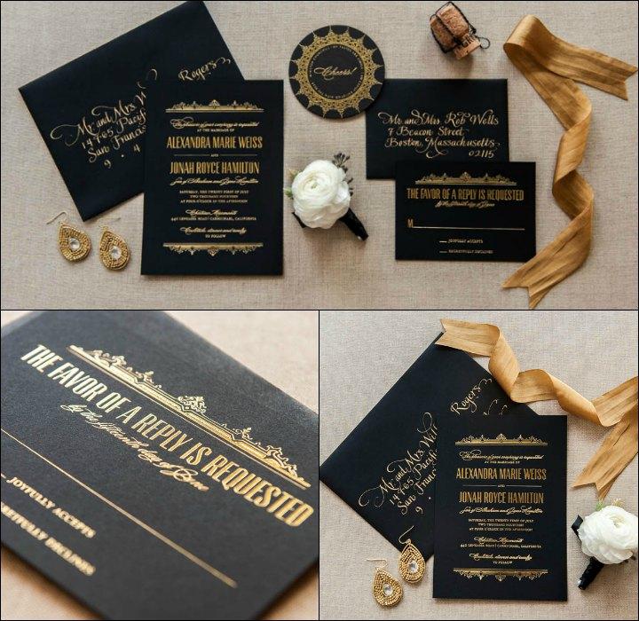 Foil Wedding Invitations - Dark Background Style