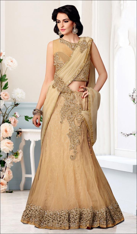 Bridal Reception Sarees - Designer Embroidered Lehenga Saree