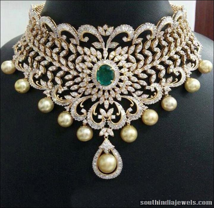 South Indian Bridal Jewellery Sets - Diamond Choker Set With Studded Emeralds And Pearls