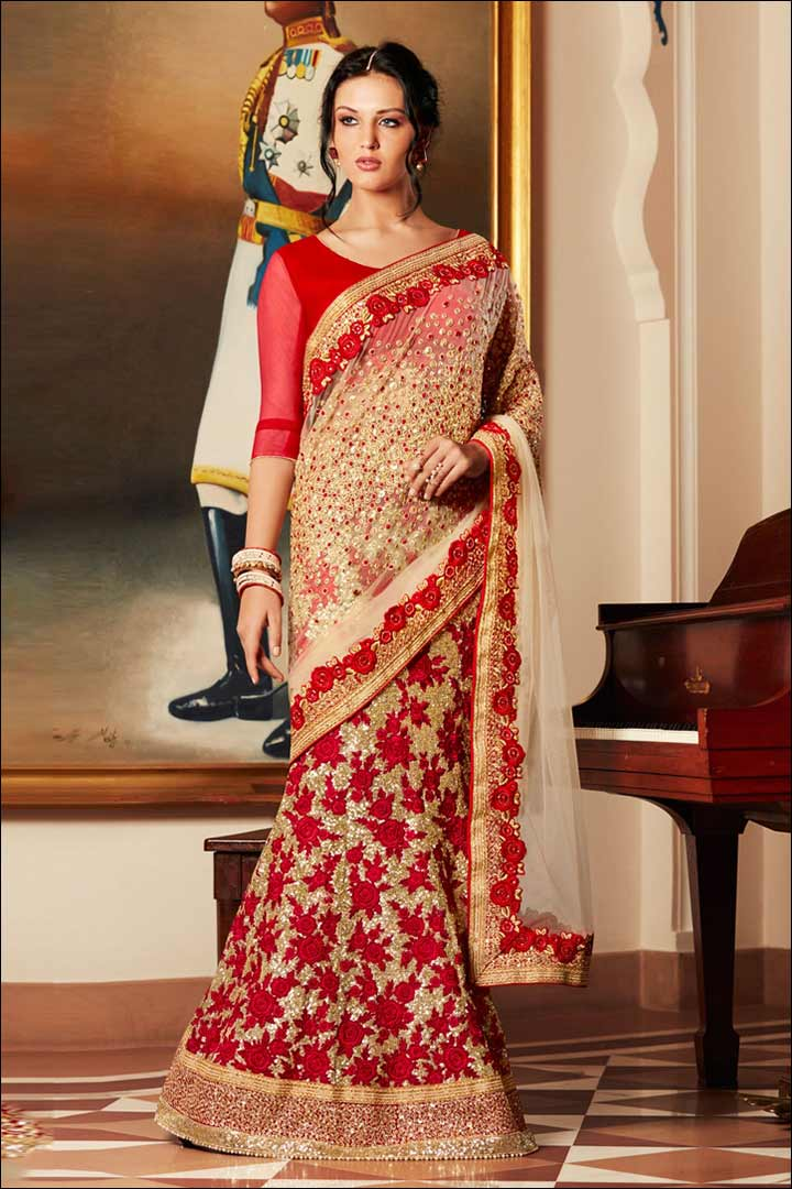 Embroidered Lehenga Bridal Saree