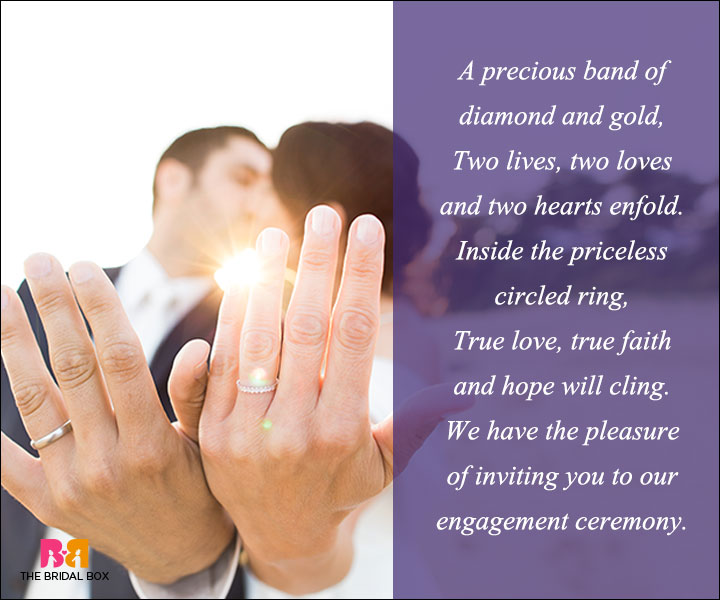 Engagement Invitation Wording   A Precious Band Of Diamond And Gold  Engagement Invitation Matter