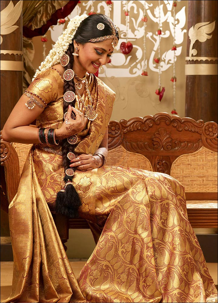 Christian Bridal Gowns For Rent In Chennai : Chennai silks gold silk saree with swarovski crystals