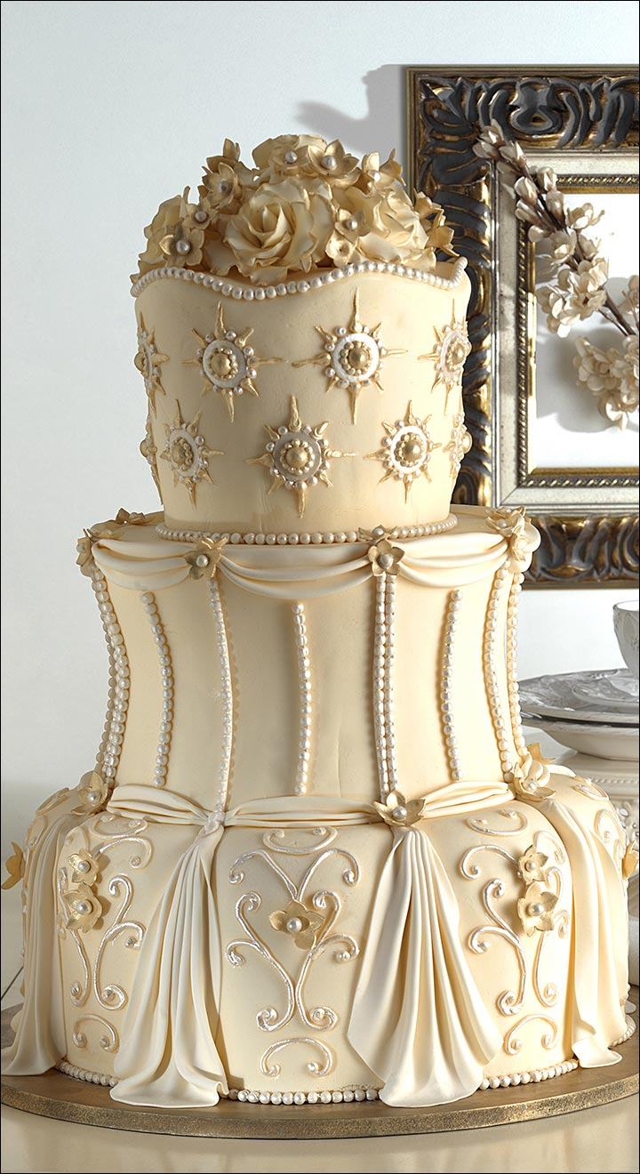 Gorgeous In Gold wedding cake