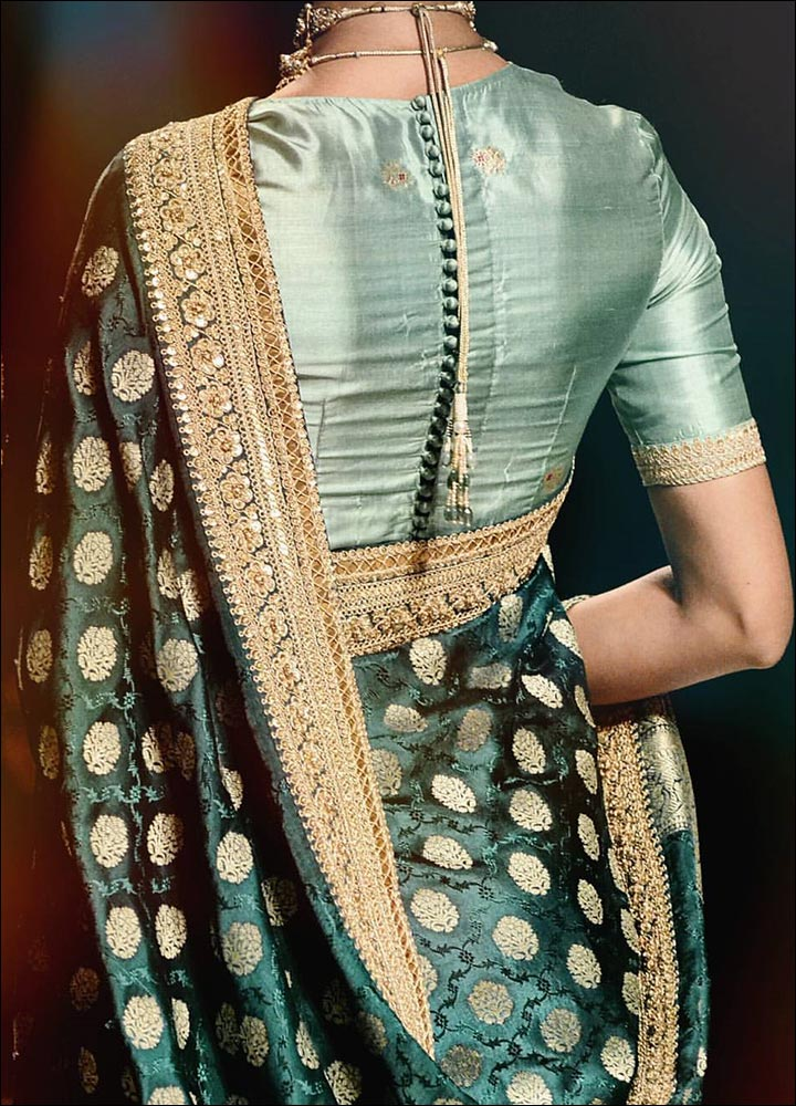 Pattu Blouse Design For Silk Sarees With Button Row And Gota Patti