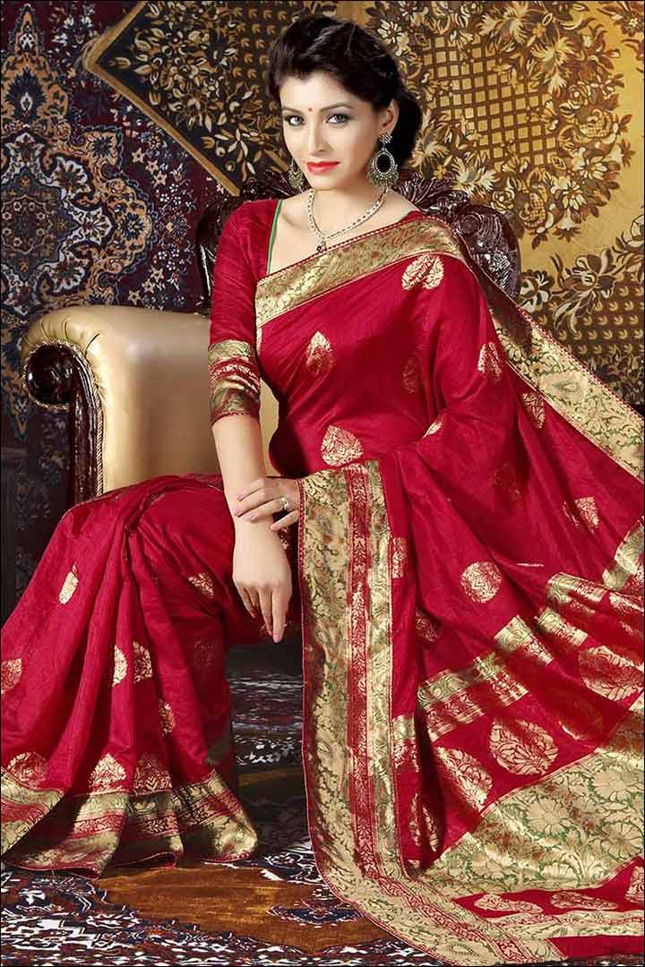 Jacquard Red Silk Bridal Saree