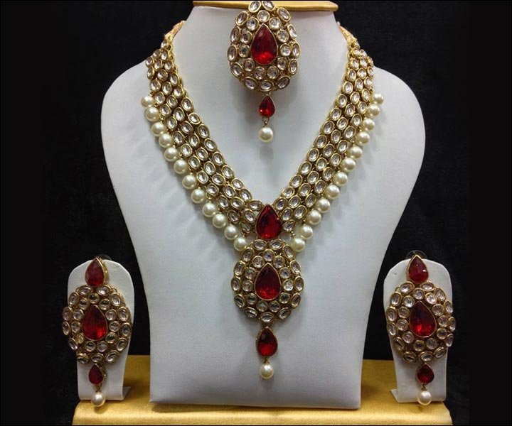Bridal Imitation Jewellery - Kundan Paisley Ruby Set