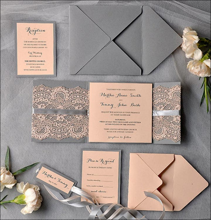 Handmade Wedding Invitations - The Lace And Ribbons Invite