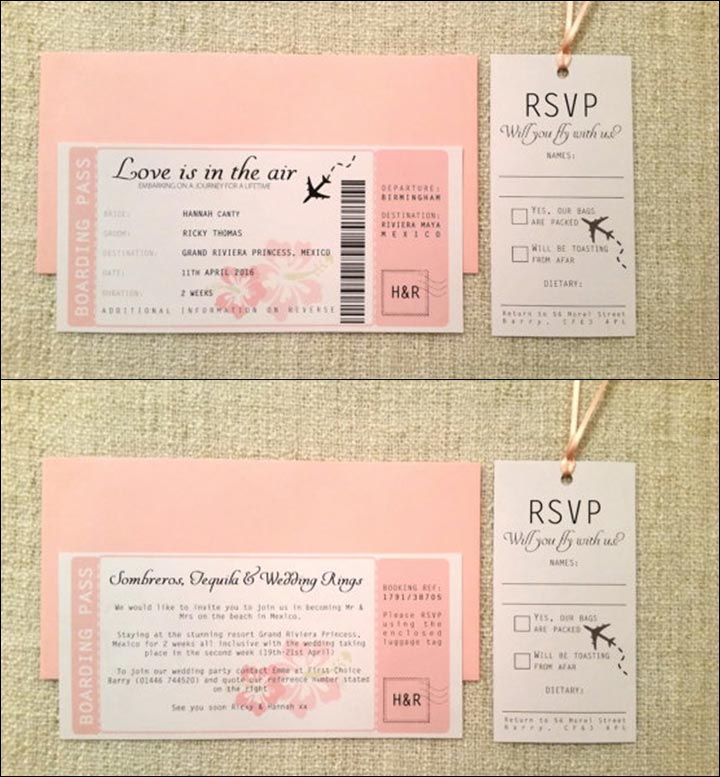 Handmade Wedding Invitations - Love Is In The Air