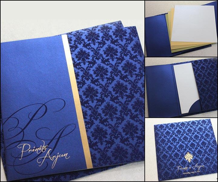 Navy Blue Wedding Invitations - Navy Blue Envelope Style