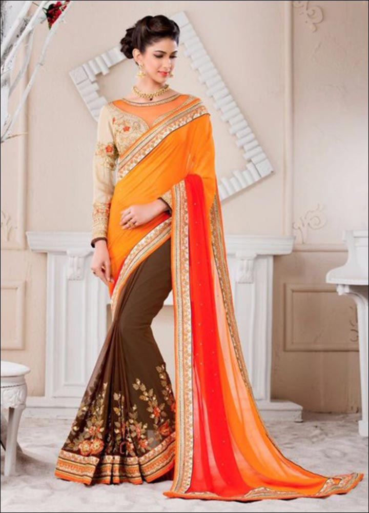 Sunrise Gold Blouse Design For Silk Sarees With Delicate Resham Work