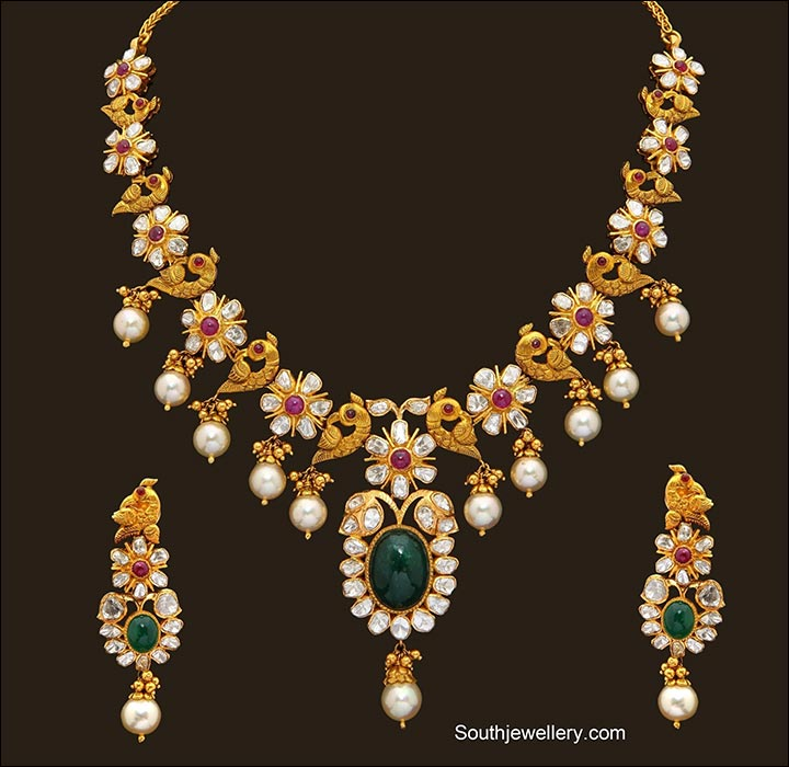 South Indian Bridal Jewellery Sets - Peacock Bridal Necklace Set With Stones And Pearls