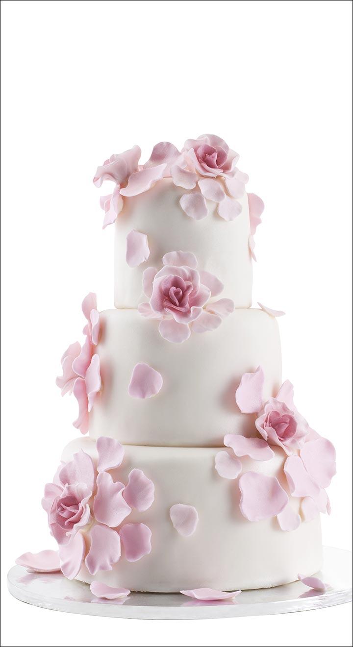 Pink Icing Petals wedding cake