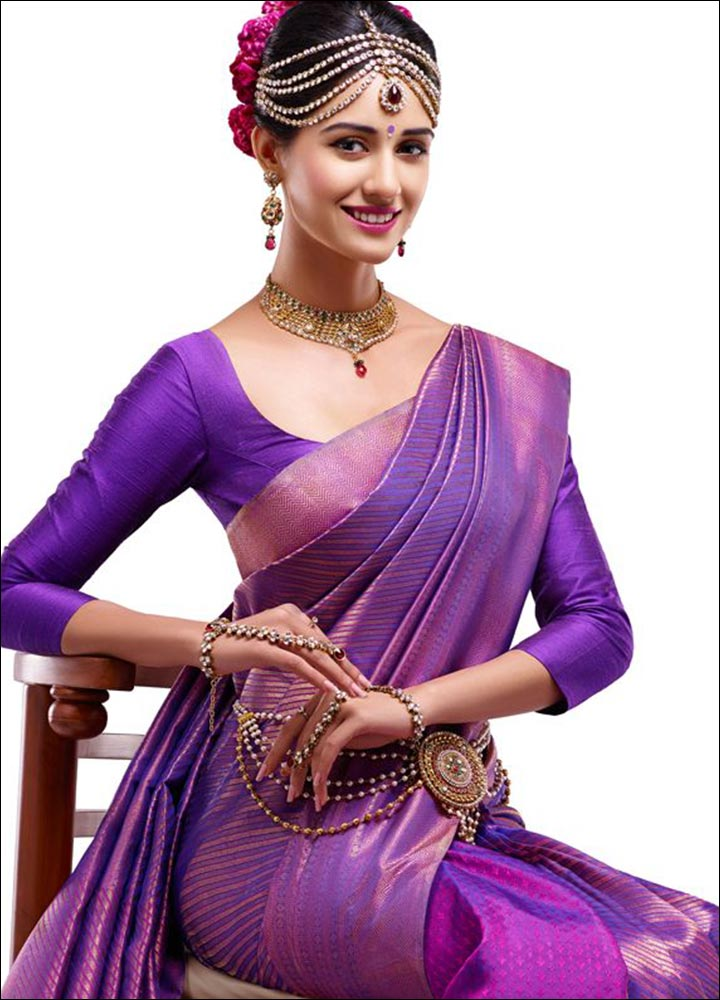 Purple Plain Design For Pattu Blouse With Deep Neck