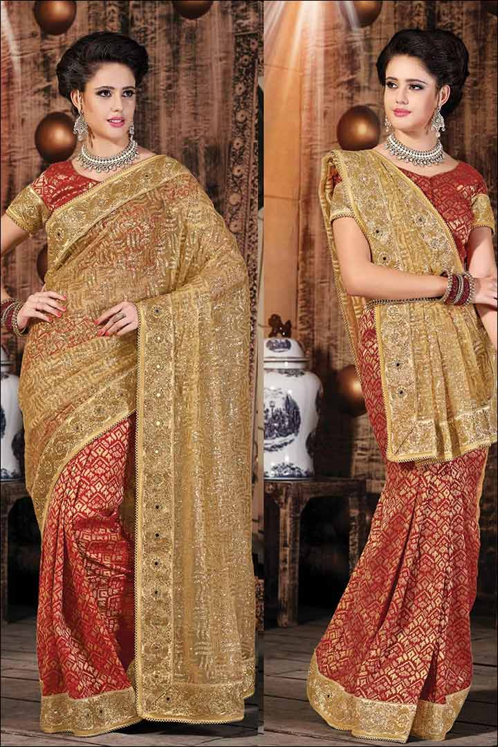 Red And Beige Heavy Brocade Bridal Saree