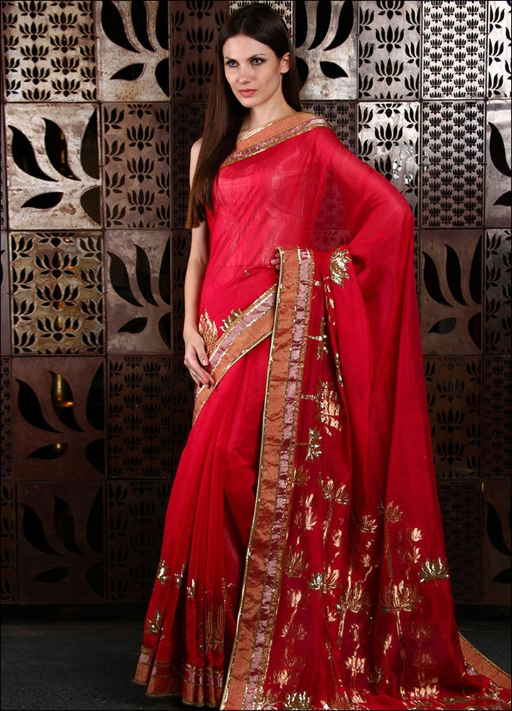 Red-Chanderi-Silk-Saree