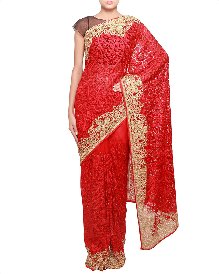 Red-Saree-With-Resham-Embroidery