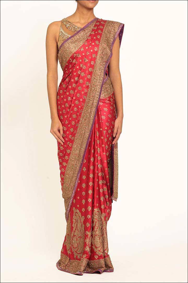 Ritu Kumar Pink Printed Bridal Saree