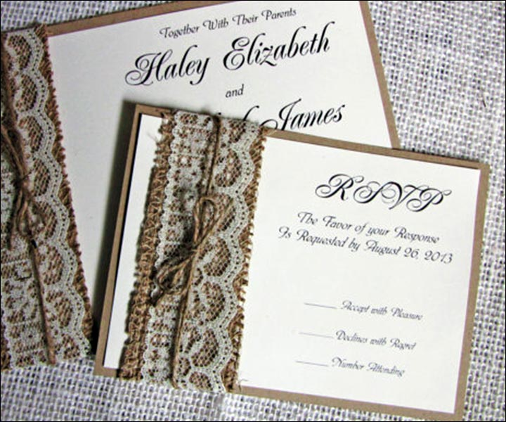 Handmade Wedding Invitations - Rustic Burlap Lace