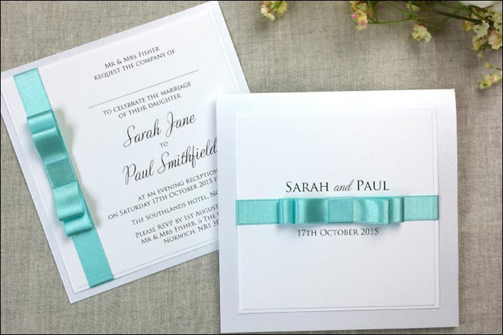 Handmade Wedding Invitations - Satin Silk Bow Invitation