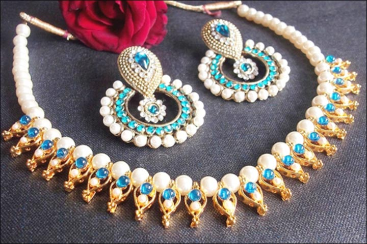 Bridal Imitation Jewellery - Sea Blue Pearl Necklace Set