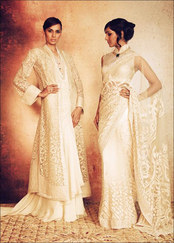 Tarun Tahiliani White Kerala Wedding Saree