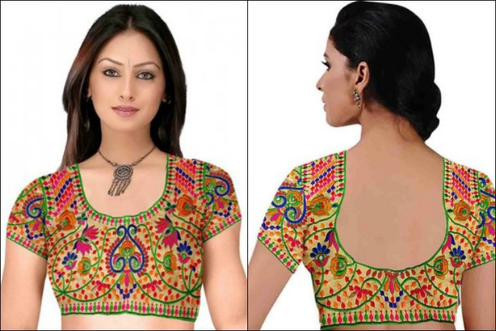 Indian Blouse Designs - The Colorful Minimal Embroidery Blouse